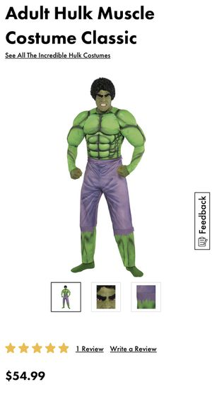 Adult hulk custome size L for Hallowen for Sale in Miami, FL