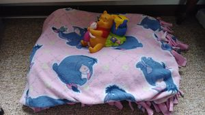 Eeyore blanket and pooh piggy bank for Sale in Owatonna, MN