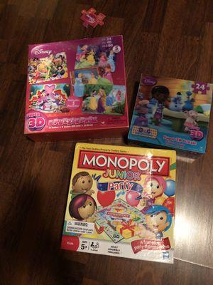 Kids Game Bundle, Monopoly Junior Party & Disney 3D Puzzles for Sale in Hialeah, FL