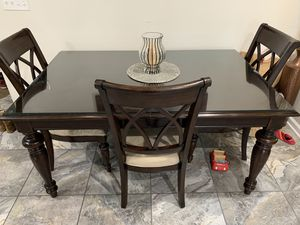Dining Table with glass and chairs for Sale in South Amboy, NJ