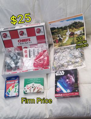 5 Games 1 Chiefs Checkers 2 puzzles 500 y 100 piece, 1 phase 10 y 1 juego de cartas. todos por $25 Firm Price. for Sale in San Jose, CA