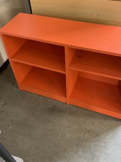 Wood Painted Orange Bookcase Storage With 4 Shelves for Sale in Seattle,  WA