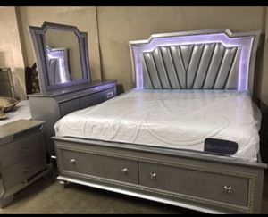 LED Queen Bed with dresser, mirror, and nightstand. ($40 down no credit check. Financing available. for Sale in Hialeah, FL