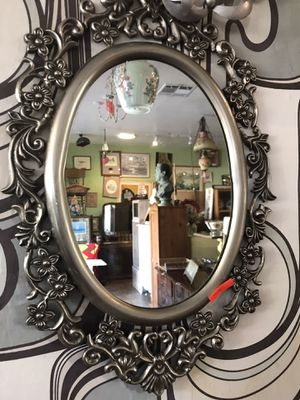 """Antique vintage silver iron metal mirror $50 measures 13 x 20"""" great holiday gift for Sale in San Diego, CA"""
