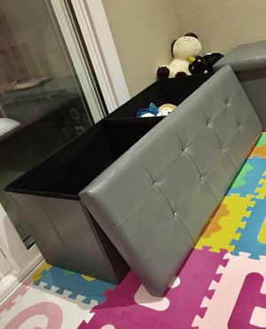 New in box 43x15x15 inches foldable storage ottoman toys clothes storage seating black brown or grey for Sale in Whittier, CA