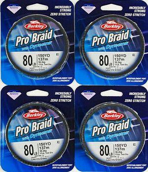 4 Berkley Pro Braid W Dyneema 150 yds 80 lbs fishing line for baitcaster, baitcast, or spinning reel for Sale in Litchfield Park, AZ