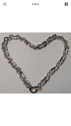 Tiffany Elsa Peretti Sterlimg Silver with 18 Carat Gold Heart Necklace and matching Bracelet for Sale in Silver Spring, MD