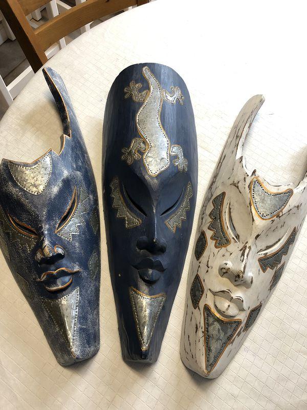 Wood mask wall art