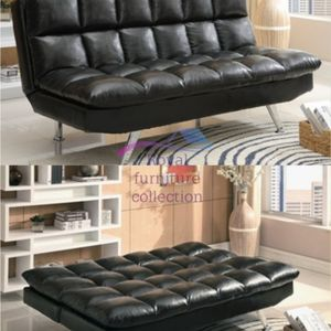 Black Leather Sofa Bed Sleeper Futon for Sale in Vernon, CA