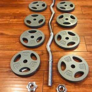 "100 lb cast iron weight plates plus the 47"" curl bar for Sale in Anaheim, CA"
