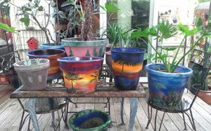 Hand painted pots with or w/o plants for Sale in Virginia Beach, VA