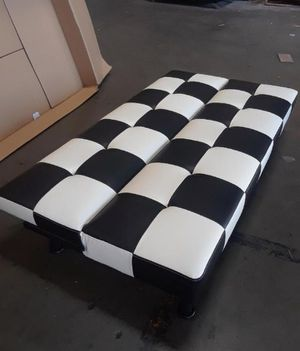 Brand New Black & White Checkered Leather Tufted Futon for Sale in Puyallup, WA