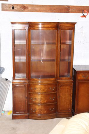 """Antique Vintage China Cabinet-Excellent Condition- Partial Broken Glass- H 69.25""""x D 16""""x W 42"""" for Sale in Colesville, MD"""