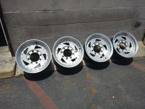 16.5x8.25 inch sawblade style alloy rims. 8 lug dodge Ford Chevy. for Sale in Montebello, CA