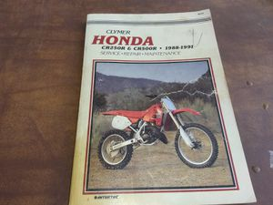Clymer Motorcycle Repair Manual,Honda 88-91,CR 250R ,CR500R for Sale in Yucaipa, CA