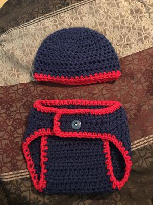 Newborn set crotchet hat and diaper cover for Sale in North Miami Beach, FL