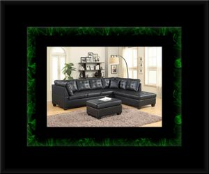 Black sectional with ottoman for Sale in Crofton, MD