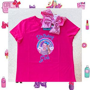 JoJo Siwa Birthday Girl Pink Shirt & Rainbow Rhinestone Bow 🌈 Size L (10/12) for Sale in Long Beach, CA