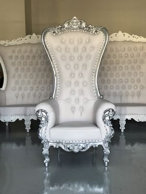 Free nationwide delivery | silver leaf throne chairs king queen princess royal baroque wedding event party photography hotel lounge boutique furnitur for Sale in Baltimore, MD