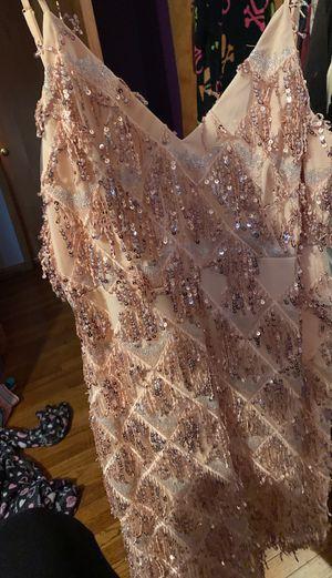 Pink fringe sparkle dress size large worn once for Sale in Bedford, OH
