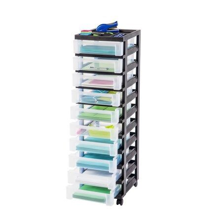 Iris 10 Drawer Rolling Storage Cart With Organizer Top Black For