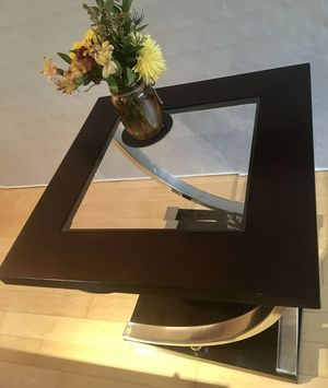 Stainless steel & wood high end caffe table set of 2 for Sale in McLean, VA
