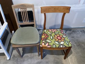 Two antique re-upholstered chairs for Sale in Kent, WA