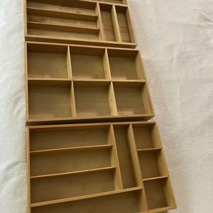 """3 Bamboo organizer silverware drawers trays with dividers 12x18"""" for Sale in Niceville, FL"""
