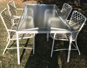 Patio Furniture includes Rectangle and round tables, 5 chairs, And 1 Rocker chair with footstool for Sale in Lomita, CA