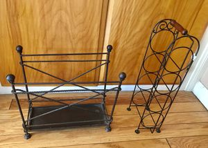 Metal Magazine Rack and Wine Rack for Sale in Baldwin Park, CA