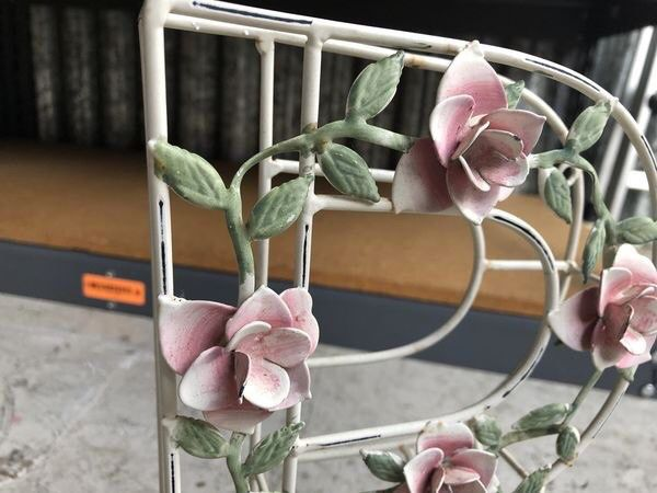 Vintage metal Rose R letter decor - perfect shape - no chips or fading great decoration with hand painted flowers approximate height is 12""