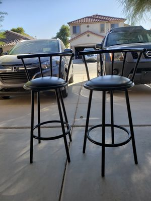 Bar stools x2 black Leather for Sale in Maricopa, AZ