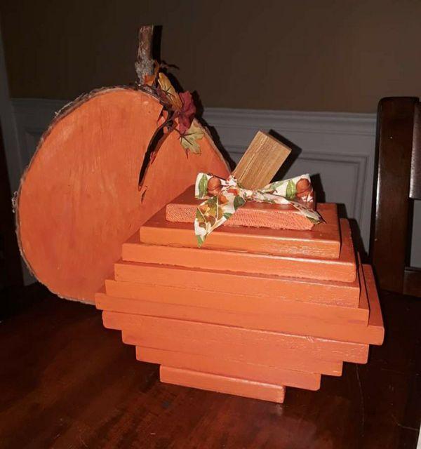 Homemade Wooden pumpkin decor