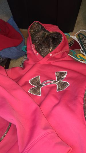 Pink Under Armour hoodie w Green forest lining for Sale in Austell, GA