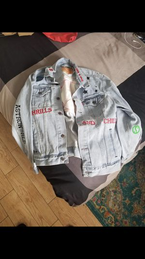 Travis Scott denim jacket size large (supreme Louis Vuitton off white bape for Sale in Riverside, CA
