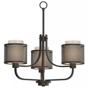 Summit Coll. 3- Light Bronze Mesh Chandelier w/ Inner Cream Fabric Shade by HDC for Sale in Houston, TX