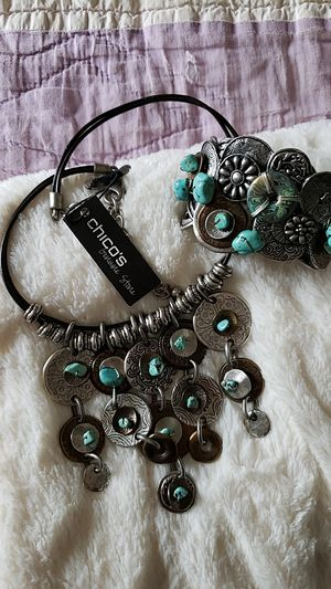Chicos new mixed metal bracelet and necklace faux Turquoise for Sale in Bowling Green, MO