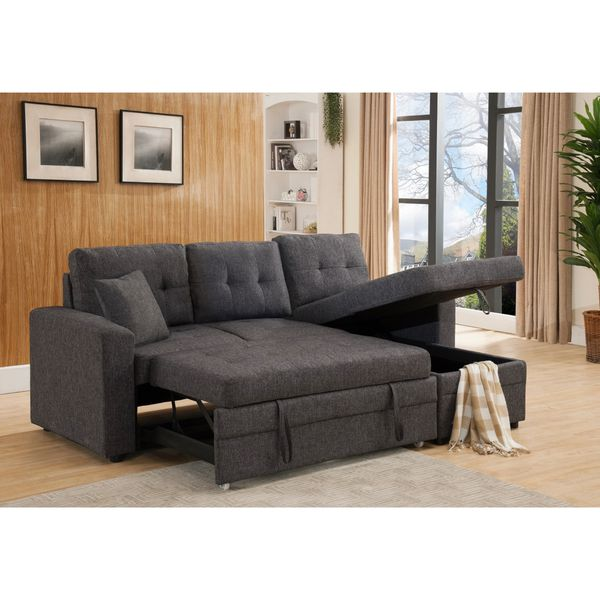 Gray Linen Sectional With Reversible Chaise Storage and Pull Out Sofa