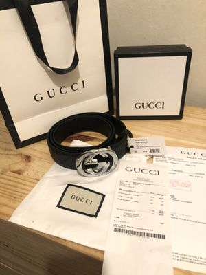 "New Gucci ""Guccisma"" Black leather engraved belt with large silver buckle 110-44 (30-34 waist) for Sale in Redmond, WA"