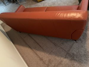 Orange leather couch for Sale in Decatur, GA