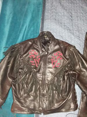 XLG Black leather jacket with roses and fringe for Sale in East Hampton, CT