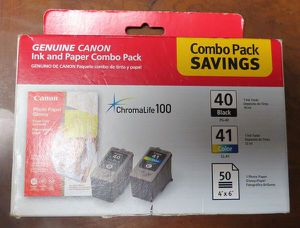 CANON Genuine Printer Ink and Paper Combo Pack ChromaLife 100 - Black 40/Color41 BRAND NEW FACTORY SEALED IN PACKAGE NOT FREE for Sale in Davie, FL
