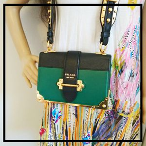 Prada Cahier Green and Black Leather Crossbody Bag for Sale in Bellingham, WA