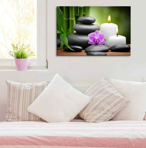 ((Free Shipping)) Zen Basalt Stones and Orchid Spa,Beauty and Calmness Concept | Modern Wall Decor/Home Decoration Stretched Painting like print for Sale in Portland, ME