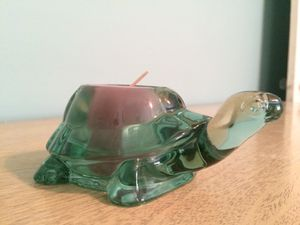 Candle holder - green glass turtle for Sale in Knoxville, TN