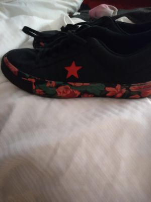 Red flowers converse shoes size 6 for Sale in Kissimmee, FL