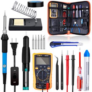 Soldering iron kit, with on off switch 6110 V adjustable temperature welding to digital multi meter, soldering tips, do you soldering pump, Solder wi for Sale in San Antonio, TX