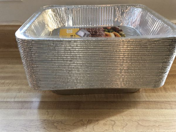 """Brand new Aluminum Oblong Foil Steam Table Pans, Half Size Deep, 30 Pack, (Outer Size: 12.8"""" x 10.2"""" x 2.6"""", Inner Size: 10.1"""" x 7.9"""") pick up only"""