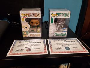 2 Signed Stan Lee Pop Figures W/ Certificates of Authenticity - *Mint* for Sale in Dallas, TX