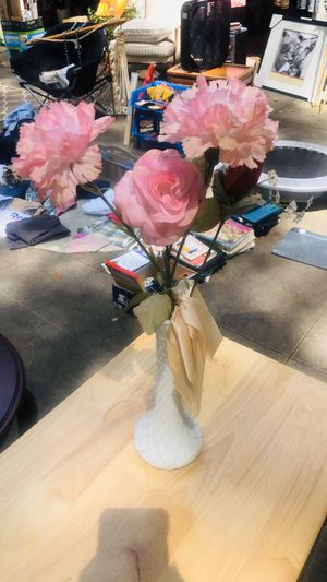White Vase with Pink Flowers for Sale in Chamblee, GA